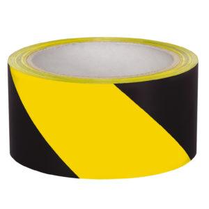 сигнальная лента черно желтая самоклеющаяся разметочная
